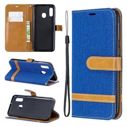 Jeans Cowboy Denim Leather Wallet Case for Samsung Galaxy A20e - Sapphire