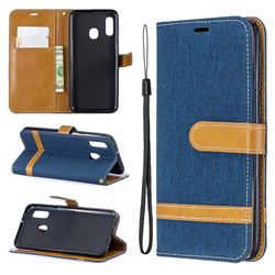 Jeans Cowboy Denim Leather Wallet Case for Samsung Galaxy A20e - Dark Blue