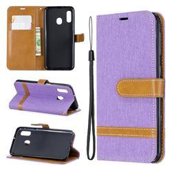 Jeans Cowboy Denim Leather Wallet Case for Samsung Galaxy A20e - Purple