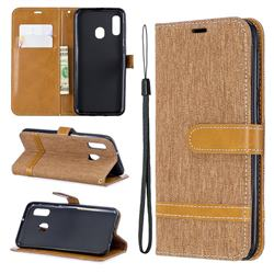 Jeans Cowboy Denim Leather Wallet Case for Samsung Galaxy A20e - Brown