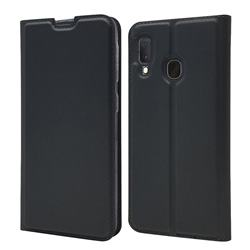 Ultra Slim Card Magnetic Automatic Suction Leather Wallet Case for Samsung Galaxy A20e - Star Grey