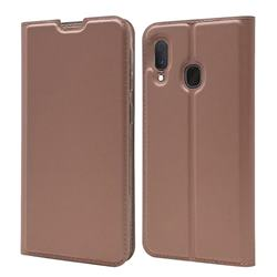 Ultra Slim Card Magnetic Automatic Suction Leather Wallet Case for Samsung Galaxy A20e - Rose Gold