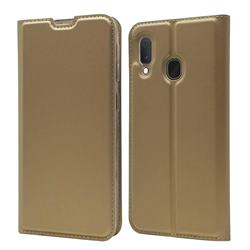 Ultra Slim Card Magnetic Automatic Suction Leather Wallet Case for Samsung Galaxy A20e - Champagne
