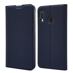 Ultra Slim Card Magnetic Automatic Suction Leather Wallet Case for Samsung Galaxy A20e - Royal Blue