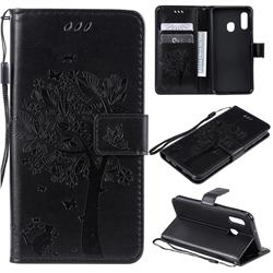 Embossing Butterfly Tree Leather Wallet Case for Samsung Galaxy A20e - Black
