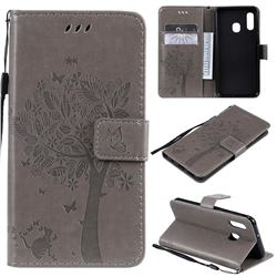 Embossing Butterfly Tree Leather Wallet Case for Samsung Galaxy A20e - Grey
