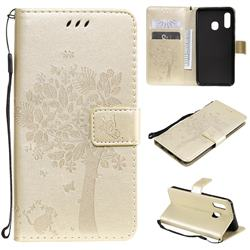 Embossing Butterfly Tree Leather Wallet Case for Samsung Galaxy A20e - Champagne