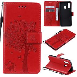 Embossing Butterfly Tree Leather Wallet Case for Samsung Galaxy A20e - Red