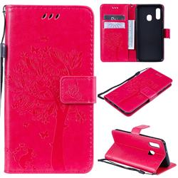 Embossing Butterfly Tree Leather Wallet Case for Samsung Galaxy A20e - Rose