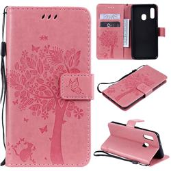 Embossing Butterfly Tree Leather Wallet Case for Samsung Galaxy A20e - Pink