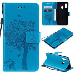 Embossing Butterfly Tree Leather Wallet Case for Samsung Galaxy A20e - Blue