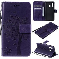 Embossing Butterfly Tree Leather Wallet Case for Samsung Galaxy A20e - Purple