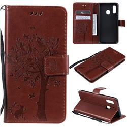 Embossing Butterfly Tree Leather Wallet Case for Samsung Galaxy A20e - Coffee