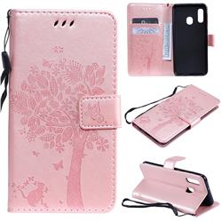 Embossing Butterfly Tree Leather Wallet Case for Samsung Galaxy A20e - Rose Pink
