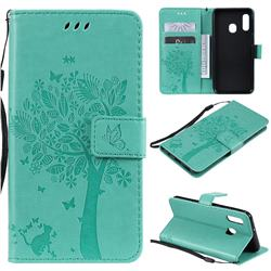 Embossing Butterfly Tree Leather Wallet Case for Samsung Galaxy A20e - Cyan