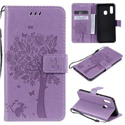 Embossing Butterfly Tree Leather Wallet Case for Samsung Galaxy A20e - Violet