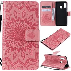 Embossing Sunflower Leather Wallet Case for Samsung Galaxy A20e - Pink