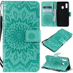 Embossing Sunflower Leather Wallet Case for Samsung Galaxy A20e - Green