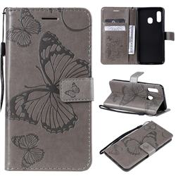 Embossing 3D Butterfly Leather Wallet Case for Samsung Galaxy A20e - Gray