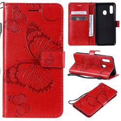 Embossing 3D Butterfly Leather Wallet Case for Samsung Galaxy A20e - Red