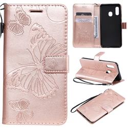 Embossing 3D Butterfly Leather Wallet Case for Samsung Galaxy A20e - Rose Gold