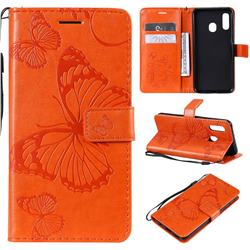 Embossing 3D Butterfly Leather Wallet Case for Samsung Galaxy A20e - Orange