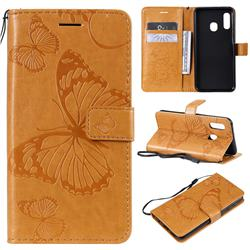 Embossing 3D Butterfly Leather Wallet Case for Samsung Galaxy A20e - Yellow