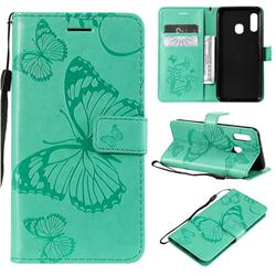 Embossing 3D Butterfly Leather Wallet Case for Samsung Galaxy A20e - Green