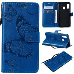 Embossing 3D Butterfly Leather Wallet Case for Samsung Galaxy A20e - Blue