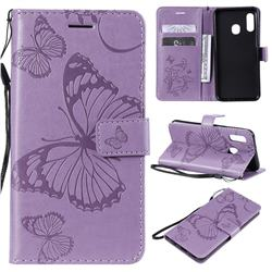 Embossing 3D Butterfly Leather Wallet Case for Samsung Galaxy A20e - Purple