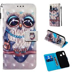 Sweet Gray Owl 3D Painted Leather Wallet Case for Samsung Galaxy A20e