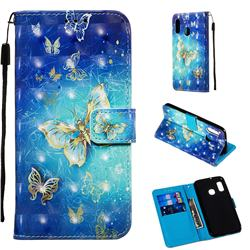 Gold Butterfly 3D Painted Leather Wallet Case for Samsung Galaxy A20e