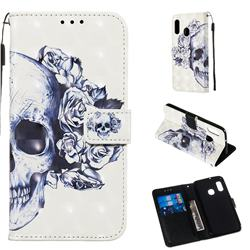 Skull Flower 3D Painted Leather Wallet Case for Samsung Galaxy A20e