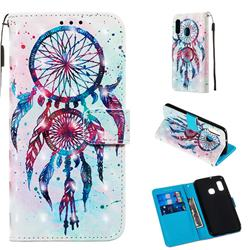 ColorDrops Wind Chimes 3D Painted Leather Wallet Case for Samsung Galaxy A20e