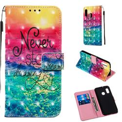 Colorful Dream Catcher 3D Painted Leather Wallet Case for Samsung Galaxy A20e