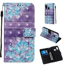 Blue Flower 3D Painted Leather Wallet Case for Samsung Galaxy A20e