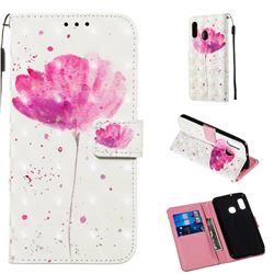 Watercolor 3D Painted Leather Wallet Case for Samsung Galaxy A20e