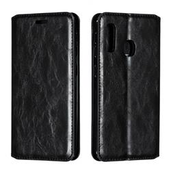 Retro Slim Magnetic Crazy Horse PU Leather Wallet Case for Samsung Galaxy A20e - Black