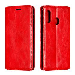 Retro Slim Magnetic Crazy Horse PU Leather Wallet Case for Samsung Galaxy A20e - Red