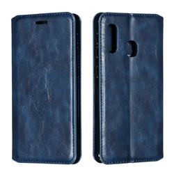 Retro Slim Magnetic Crazy Horse PU Leather Wallet Case for Samsung Galaxy A20e - Blue