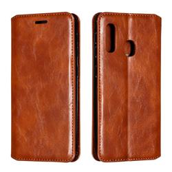 Retro Slim Magnetic Crazy Horse PU Leather Wallet Case for Samsung Galaxy A20e - Brown