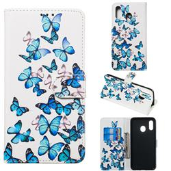 Blue Vivid Butterflies PU Leather Wallet Case for Samsung Galaxy A20e