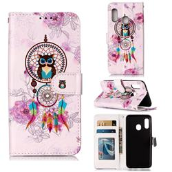 Wind Chimes Owl 3D Relief Oil PU Leather Wallet Case for Samsung Galaxy A20e