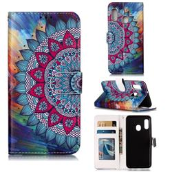 Mandala Flower 3D Relief Oil PU Leather Wallet Case for Samsung Galaxy A20e