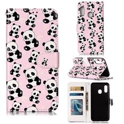 Cute Panda 3D Relief Oil PU Leather Wallet Case for Samsung Galaxy A20e
