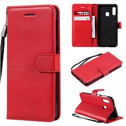 Retro Greek Classic Smooth PU Leather Wallet Phone Case for Samsung Galaxy A20e - Red