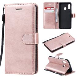 Retro Greek Classic Smooth PU Leather Wallet Phone Case for Samsung Galaxy A20e - Rose Gold