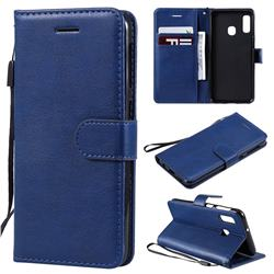 Retro Greek Classic Smooth PU Leather Wallet Phone Case for Samsung Galaxy A20e - Blue
