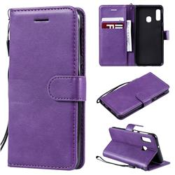 Retro Greek Classic Smooth PU Leather Wallet Phone Case for Samsung Galaxy A20e - Purple