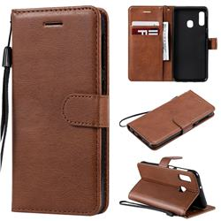 Retro Greek Classic Smooth PU Leather Wallet Phone Case for Samsung Galaxy A20e - Brown